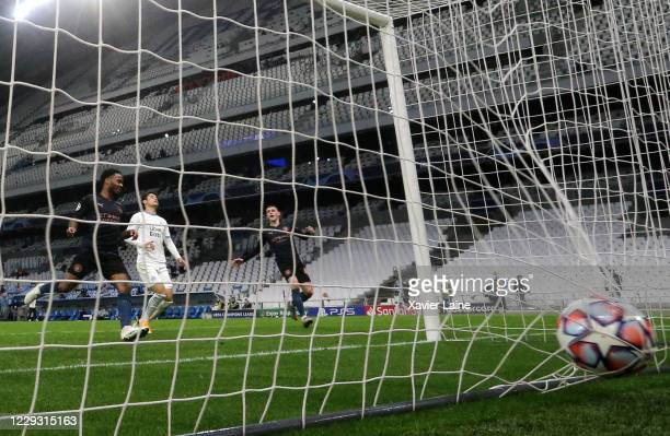 Raheem Sterling of Manchester City scores a goal during the UEFA Champions League Group C stage match between Olympique de Marseille and Manchester...