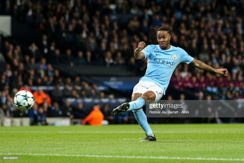 Raheem Sterling of Manchester City scores a goal to make it 1-0 during the UEFA Champions League group F match between Manchester City and SSC Napoli at Etihad Stadium on October 17, 2017 in Manchester, United Kingdom.