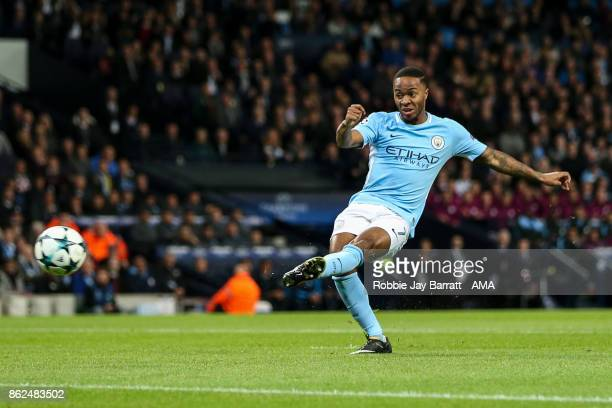 Raheem Sterling of Manchester City scores a goal to make it 10 during the UEFA Champions League group F match between Manchester City and SSC Napoli...