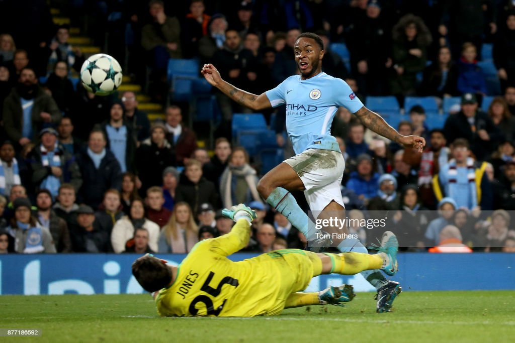 Raheem Sterling of Manchester City scores his sides first goal during the UEFA Champions League group F match between Manchester City and Feyenoord at Etihad Stadium on November 21, 2017 in Manchester, United Kingdom.
