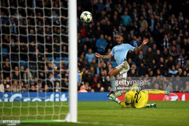 Raheem Sterling of Manchester City scores his sides first goal during the UEFA Champions League group F match between Manchester City and Feyenoord...