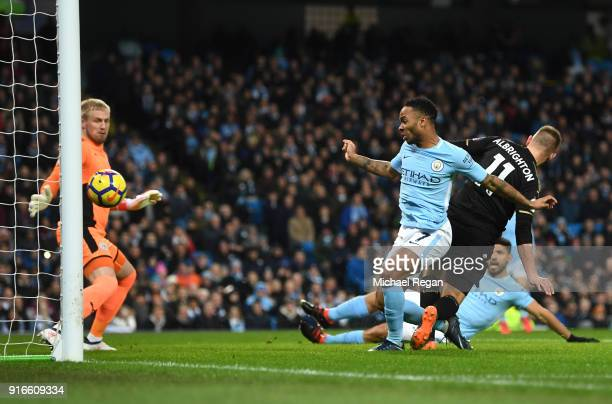 Raheem Sterling of Manchester City scores his side's first goal during the Premier League match between Manchester City and Leicester City at Etihad...