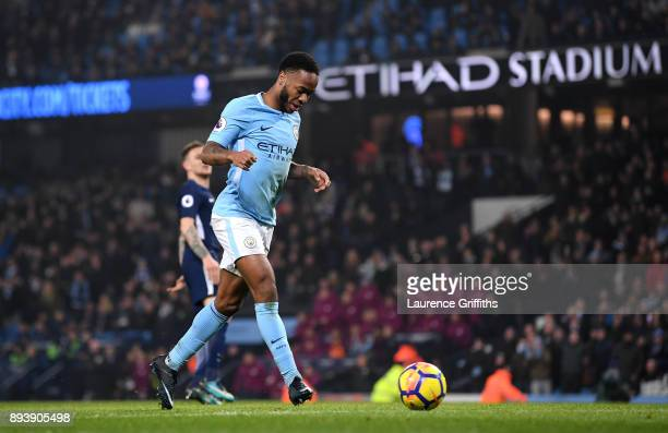 Raheem Sterling of Manchester City scores his sides fourth goal during the Premier League match between Manchester City and Tottenham Hotspur at...