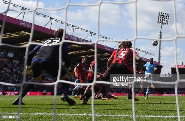 Raheem Sterling of Manchester City scores his sides second goal during the Premier League match between AFC Bournemouth and Manchester City at...