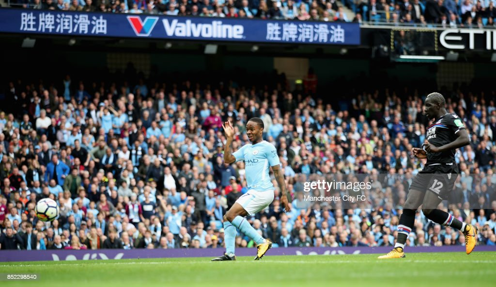 Raheem Sterling of Manchester City scores his sides second goal during the Premier League match between Manchester City and Crystal Palace at Etihad Stadium on September 23, 2017 in Manchester, England.