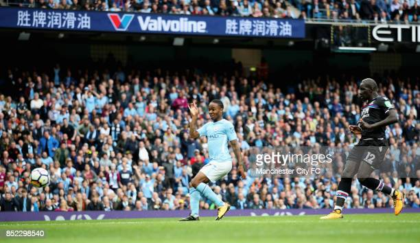 Raheem Sterling of Manchester City scores his sides second goal during the Premier League match between Manchester City and Crystal Palace at Etihad...