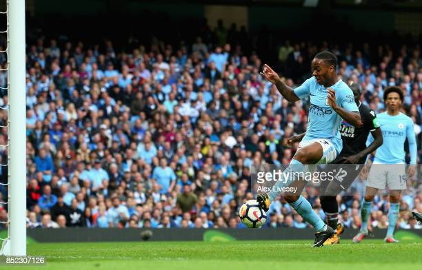 Raheem Sterling of Manchester City scores his side's second goal during the Premier League match between Manchester City and Crystal Palace at Etihad...