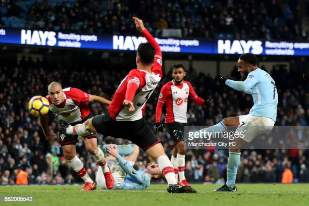 Raheem Sterling of Manchester City scores his sides second goal during the Premier League match between Manchester City and Southampton at Etihad...