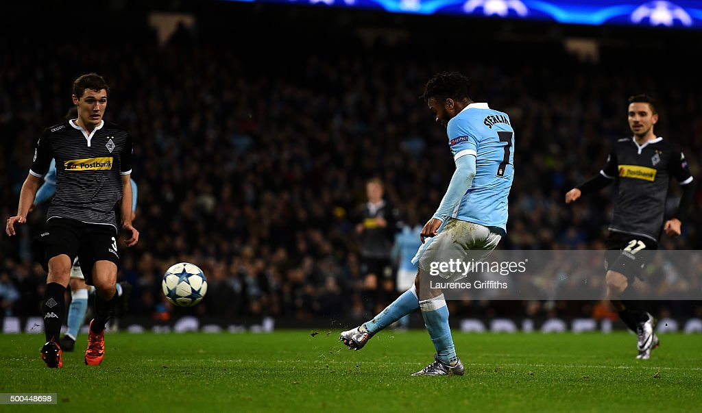 Raheem Sterling of Manchester City scores his side's third goal during the UEFA Champions League Group D match between Manchester City and Borussia Monchengladbach at Etihad Stadium on December 8, 2015 in Manchester, United Kingdom.