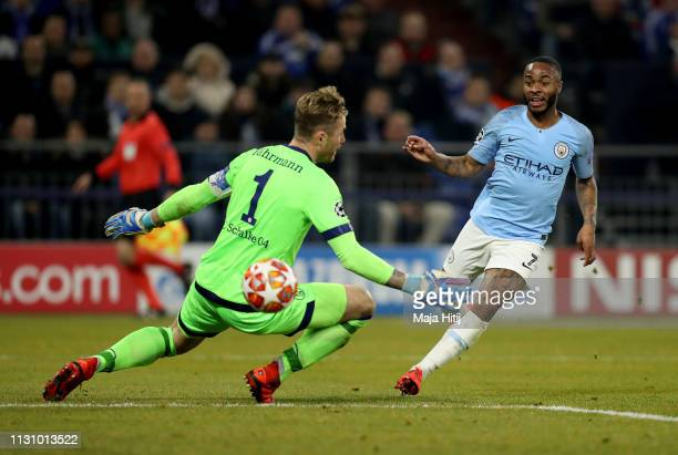 Raheem Sterling of Manchester City scores his team's 3rd goal over Ralf Faehrmann goalkeeper of Schalke during the UEFA Champions League Round of 16...