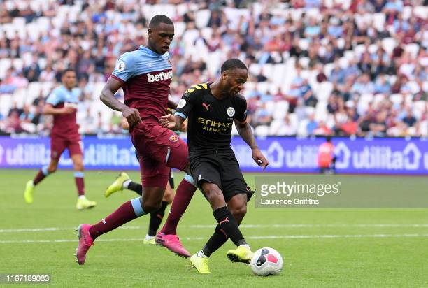 Raheem Sterling of Manchester City scores his team's fifth goal during the Premier League match between West Ham United and Manchester City at London...