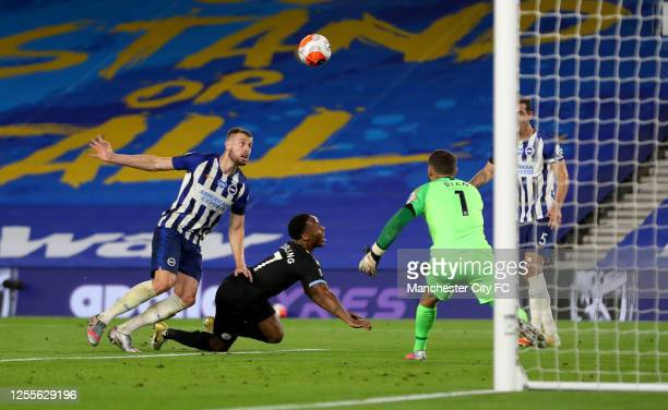Raheem Sterling of Manchester City scores his team's fifth goal, his hattrick, during the Premier League match between Brighton & Hove Albion and...