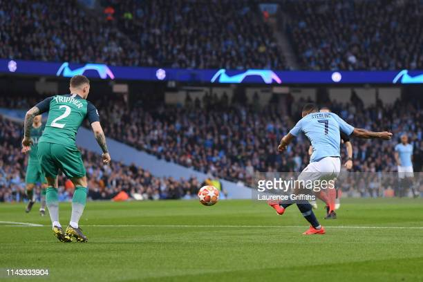 Raheem Sterling of Manchester City scores his team's first goal during the UEFA Champions League Quarter Final second leg match between Manchester...