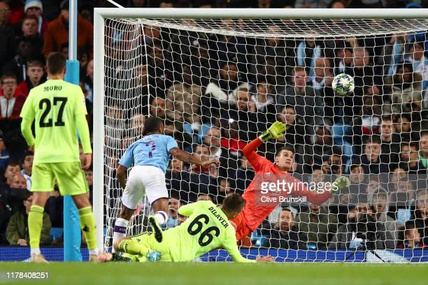 Raheem Sterling of Manchester City scores his team's first goal during the UEFA Champions League group C match between Manchester City and Dinamo...