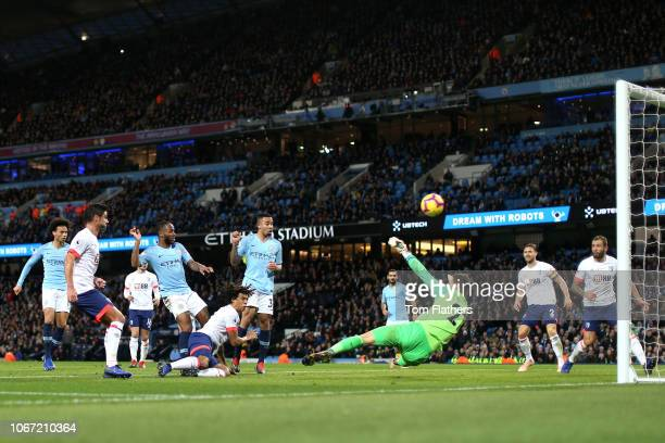 Raheem Sterling of Manchester City scores his team's second goal during the Premier League match between Manchester City and AFC Bournemouth at...