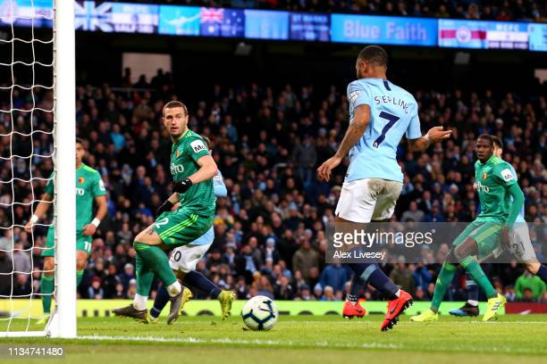 Raheem Sterling of Manchester City scores his team's second goal during the Premier League match between Manchester City and Watford FC at Etihad...