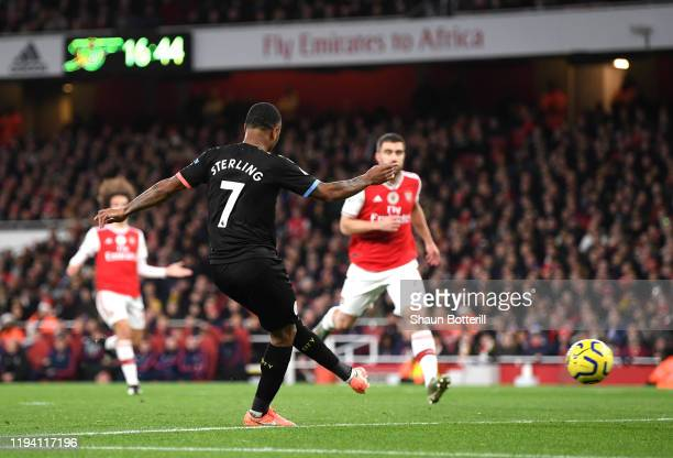Raheem Sterling of Manchester City scores his team's second goal during the Premier League match between Arsenal FC and Manchester City at Emirates...