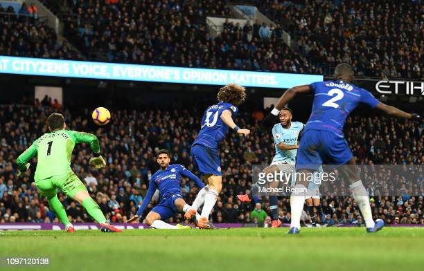 Raheem Sterling of Manchester City scores his team's seventh goal during the Premier League match between Manchester City and Chelsea FC at Etihad...