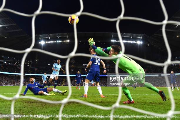 Raheem Sterling of Manchester City scores his team's sixth goal past Kepa Arrizabalaga of Chelsea during the Premier League match between Manchester...