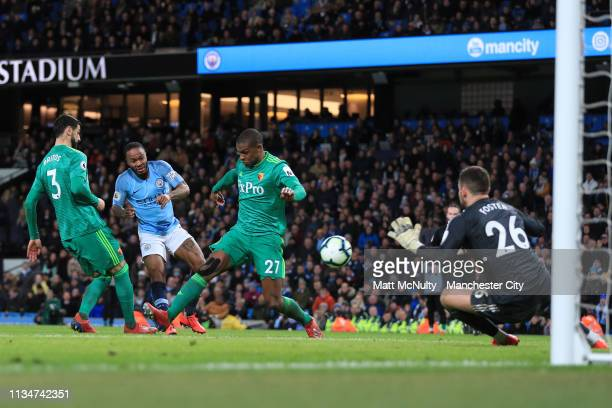 Raheem Sterling of Manchester City scores his team's third goal during the Premier League match between Manchester City and Watford FC at Etihad...