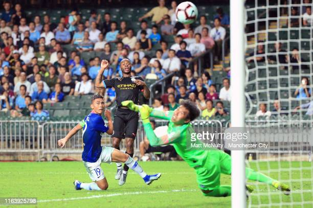 Raheem Sterling of Manchester City scores his team's third goal during the Pre-Season friendly match between Kitchee and Manchester City at the Hong...
