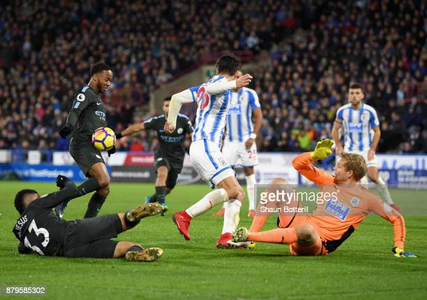 Raheem Sterling of Manchester City scores the 2nd Manchester City goal during the Premier League match between Huddersfield Town and Manchester City...