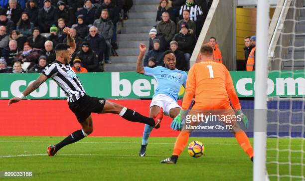 Raheem Sterling of Manchester City scores the opening goal during the Premier League match between Newcastle United and Manchester City at St James'...