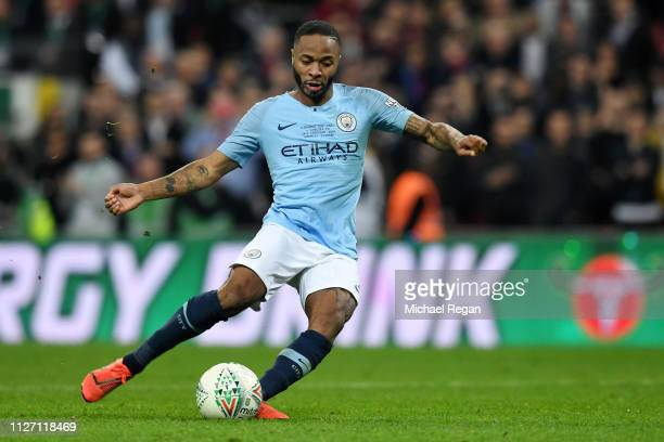 Raheem Sterling of Manchester City scores the winning penalty during the Carabao Cup Final between Chelsea and Manchester City at Wembley Stadium on...