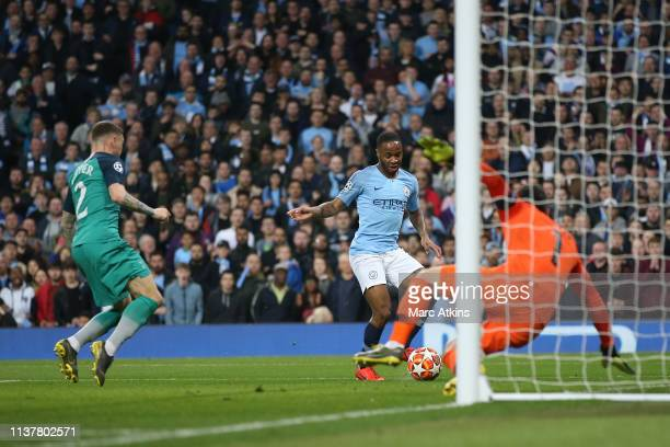 Raheem Sterling of Manchester City scores their 3rd goal during the UEFA Champions League Quarter Final second leg match between Manchester City and...