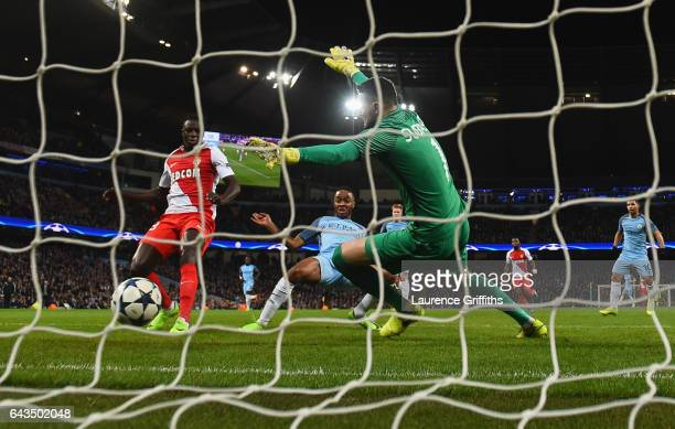 Raheem Sterling of Manchester City scores their first goal past goalkeeper Danijel Subasic of AS Monaco during the UEFA Champions League Round of 16...