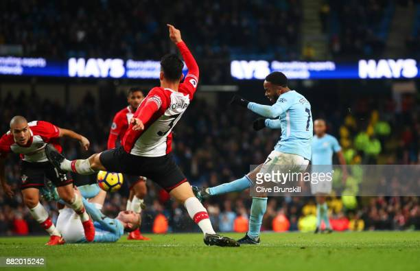 Raheem Sterling of Manchester City scores their second goal during the Premier League match between Manchester City and Southampton at Etihad Stadium...