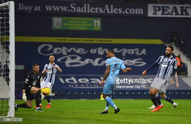 Raheem Sterling of Manchester City scores their team's fifth goal during the Premier League match between West Bromwich Albion and Manchester City at...