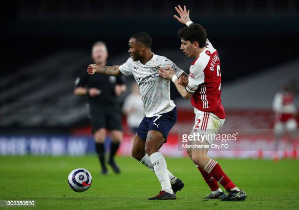 Raheem Sterling of Manchester City shields the ball from Hector Bellerin of Arsenal during the Premier League match between Arsenal and Manchester...