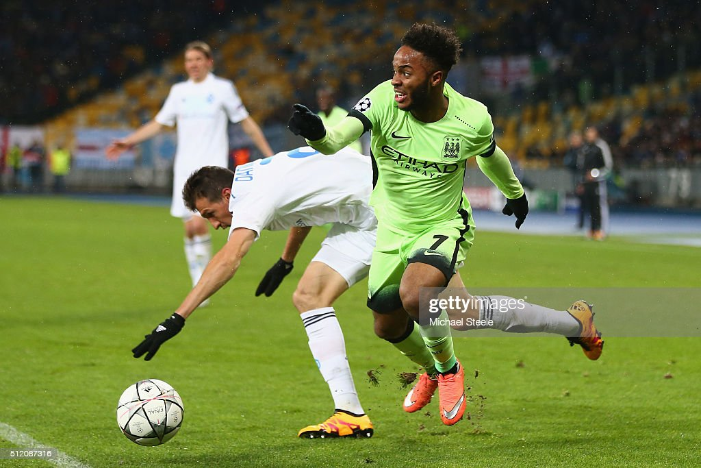 Raheem Sterling of Manchester City shrugs off the challenge from Danilo Silva of Dynamo Kiev during the UEFA Champions League round of 16 match between Dynamo Kiev and Manchester City at the Olympic Stadium on February 24, 2016 in Kiev, Ukraine.