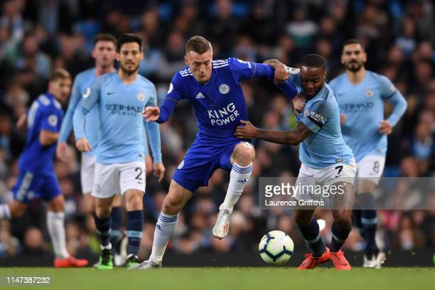 Raheem Sterling of Manchester City takes on Jamie Vardy of Leicester City during the Premier League match between Manchester City and Leicester City...