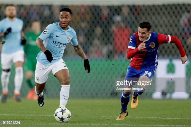 Raheem Sterling of Manchester City Taulant Xhaka of FC Basel during the UEFA Champions League match between Fc Basel v Manchester City at the St...