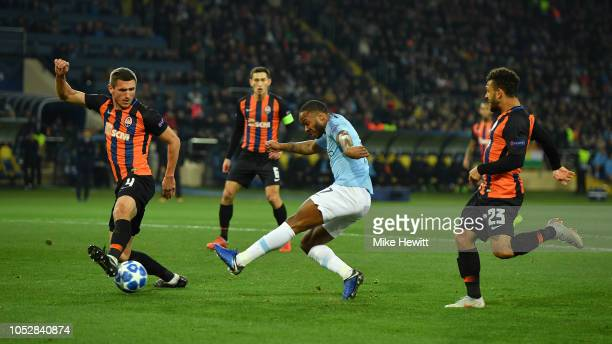 Raheem Sterling of Manchester City terrorises the Shakhtar Donetsk defence during the Group F match of the UEFA Champions League between FC Shakhtar...