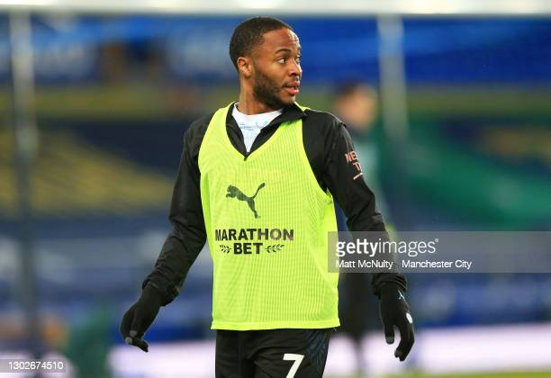 Raheem Sterling of Manchester City warms up prior to prior to the Premier League match between Everton and Manchester City at Goodison Park on...