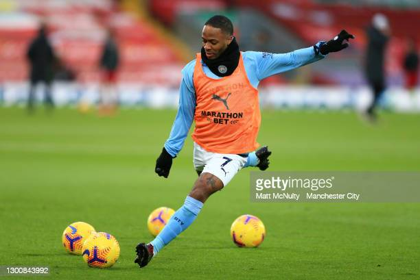 Raheem Sterling of Manchester City warms up prior to the Premier League match between Liverpool and Manchester City at Anfield on February 07, 2021...