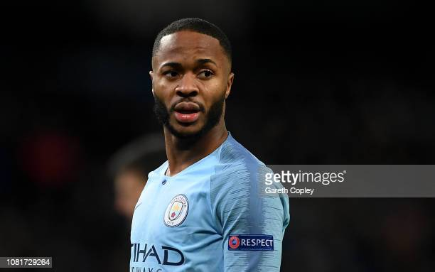 Raheem Sterling of Manchester City wears the Respect anti racism campaign badge on his shirt during the UEFA Champions League Group F match between...