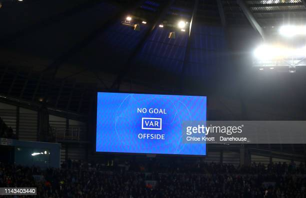 Raheem Sterling of Manchester City's third goal is awarded offside by VAR during the UEFA Champions League Quarter Final second leg match between...