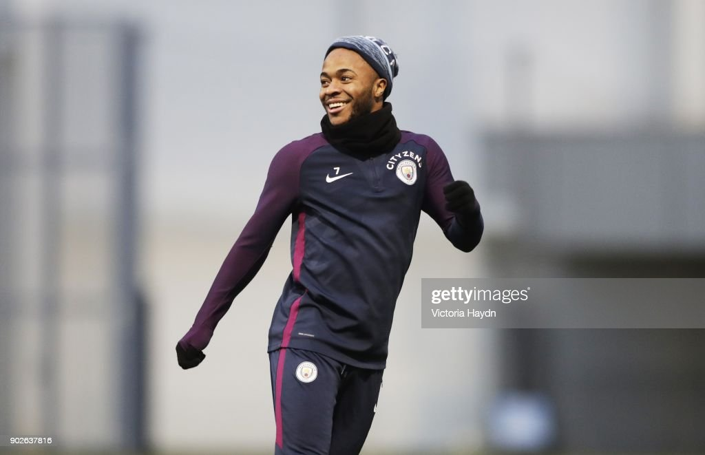 Raheem Sterling reacts during training at Manchester City Football Academy on January 8, 2018 in Manchester, England.
