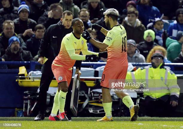 Raheem Sterling replaces Sergio Aguero during the FA Cup Fifth Round match between Sheffield Wednesday and Manchester City at Hillsborough on March 4...