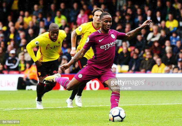 Raheem Sterling takes the penalty during the Premier League match between Watford and Manchester City at Vicarage Road on September 16 2017 in...