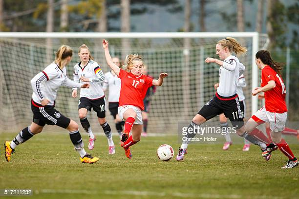 Rahel Tschopp of Switzerland competes for the ball with Annalena Rieke of Germany during the U17 Girl's Euro Qualifier match between Germany and...