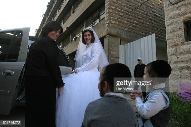 Rahel Weistock the bride of Aharon Noah Alter the grandson of Chief Rabbi of the Gur sect Yaakov Arie Alter is seen after their wedding in Jerusalem...