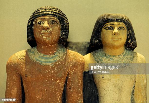 Raherka with his wife Meresankh ca 2350 BC painted limestone statues Egyptian civilisation Old Kingdom Dynasty IVV Detail Cairo Egyptian Museum