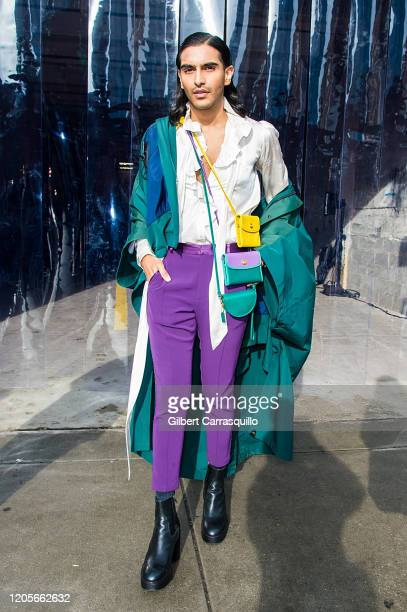 Rahi Chadda is seen leaving the Coach 1941 fashion show during New York Fashion Week on February 11, 2020 in New York City.