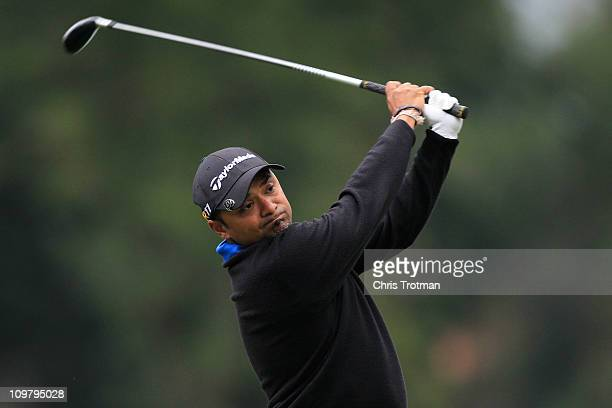 Rahil Gangjee of India hits off the twelth tee during the second round of the Pacific Rubiales Bogota Open Presented by Samsung at Country Club de...