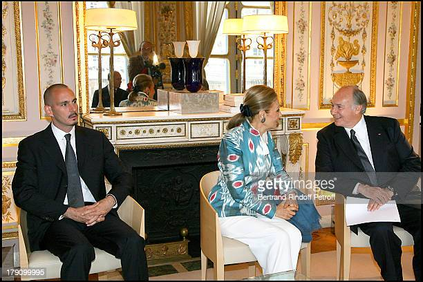 Rahim Aga Khan The Empress Farah Diba Pahlavi and Prince Karim Aga Khan at Christine Albanel Presents The 'Grand Patron' And 'Grand Donor' Award To...